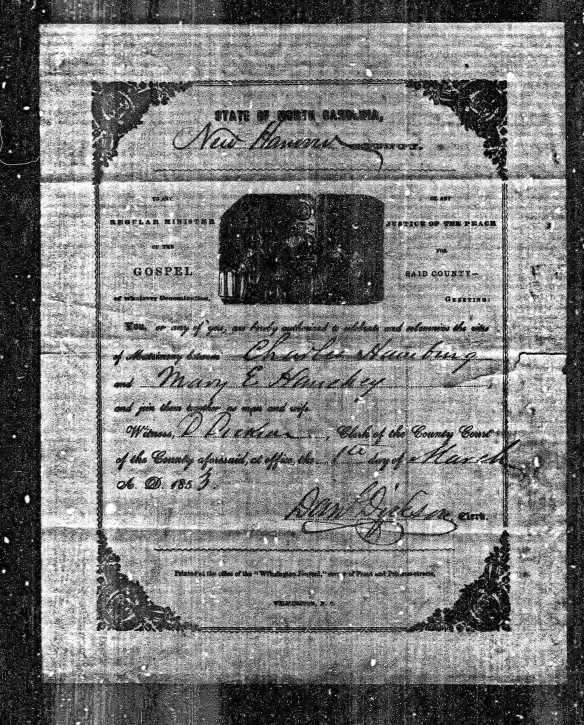 Charles Hamberg and Mary Hanchey marriage record 1853 Ancestry.com. North Carolina, Marriage Records, 1741-2011 [database on-line]. Provo, UT, USA: Ancestry.com Operations, Inc., 2015. Original data: North Carolina County Registers of Deeds. Microfilm. Record Group 048. North Carolina State Archives, Raleigh, NC.