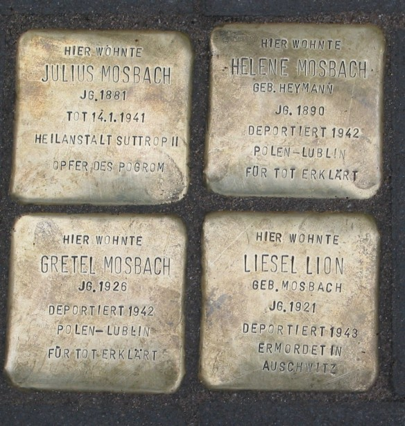 Stolperstein for Julius Mosbach and family