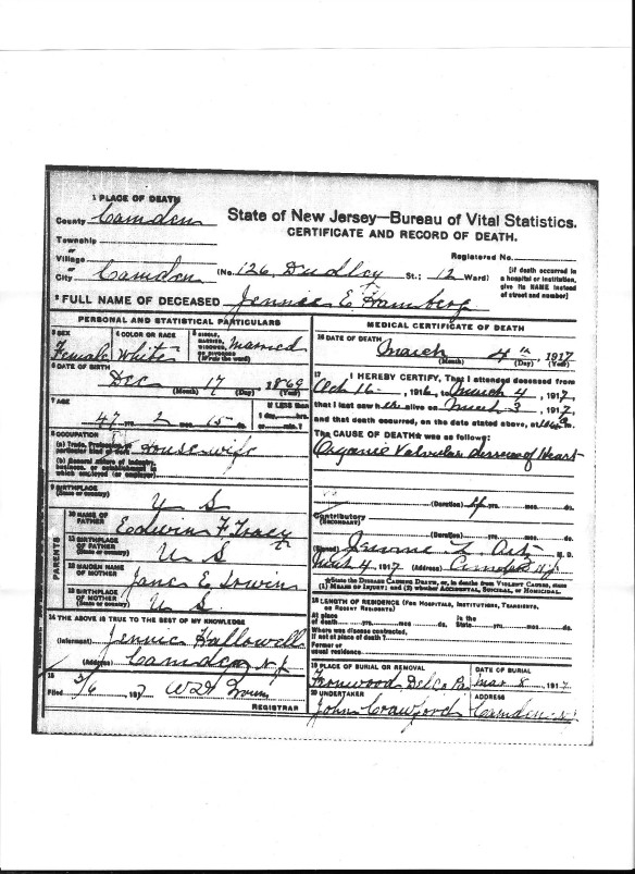 Jennie Tracey Hamberg death certificate