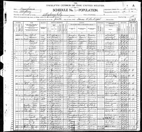 Jacob and Amalia Hamberg Baer 1900 census Year: 1900; Census Place: Allegheny Ward 5, Allegheny, Pennsylvania; Roll: 1356; Enumeration District: 0050; FHL microfilm: 1241356