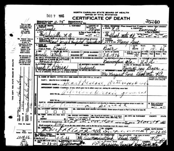 Bossie Baer death certificate Ancestry.com. North Carolina, Death Certificates, 1909-1976 [database on-line]. Provo, UT, USA: Ancestry.com Operations Inc, 2007. Original data: North Carolina State Board of Health, Bureau of Vital Statistics. North Carolina Death Certificates. Microfilm S.123. Rolls 19-242, 280, 313-682, 1040-1297. North Carolina State Archives, Raleigh, North Carolina.