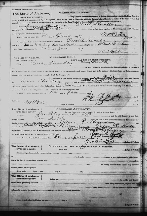 Marriage record for Oscar R. Hundley and Dannie McBryde O'Neil