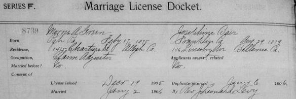 "Marriage record of Morris Green and Josephine Baer Pennsylvania, County Marriages, 1885-1950,"" database with images, FamilySearch (https://familysearch.org/pal:/MM9.3.1/TH-1942-20622-18713-16?cc=1589502 : accessed 10 June 2016), 004811570 > image 334 of 449; county courthouses, Pennsylvania."