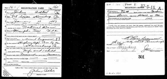 Julius Adler, World War I draft registration Registration State: Pennsylvania; Registration County: Dauphin; Roll: 1893237; Draft Board: 3