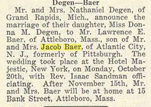 Engagement announcement of Lawrence Baer and Donna Degen, Pittsburgh Jewish Criterion, October 24, 1919