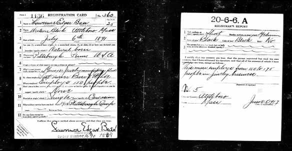 Lawrence Baer World War 1 draft registration Registration State: Massachusetts; Registration County: Bristol; Roll: 1684755; Draft Board: 40