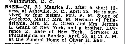 Maurice Jay Baer death notice New York Times, April 27, 1946