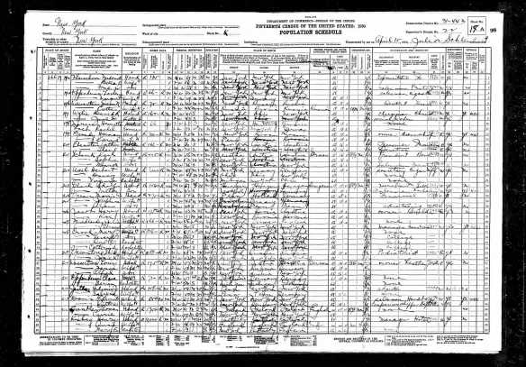 Morris and Josephine Baer Green and Alan Baer Green, 1930 census Year: 1930; Census Place: Manhattan, New York, New York; Roll: 1556; Page: 19A; Enumeration District: 0443; Image: 762.0; FHL microfilm: 2341291