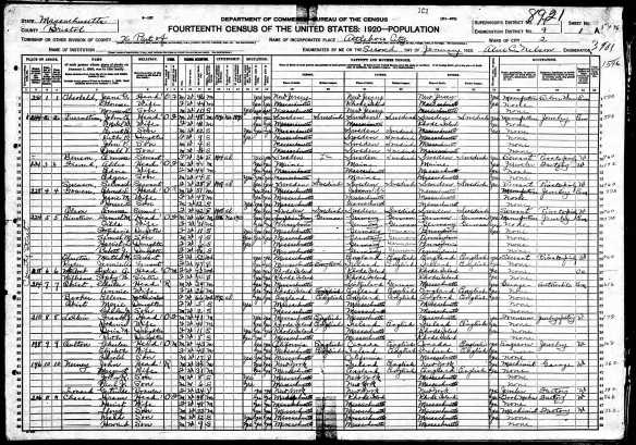 Samuel and Tilda Baer Einstein (Stone) 1920 US census Year: 1920; Census Place: Attleboro Ward 2, Bristol, Massachusetts; Roll: T625_681; Page: 1A; Enumeration District: 9; Image: 794