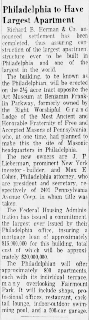 """""""Philadelphia to Have Largest Apartment, Camden Courier Post, Saturday, May 6, 1961, p. 2"""