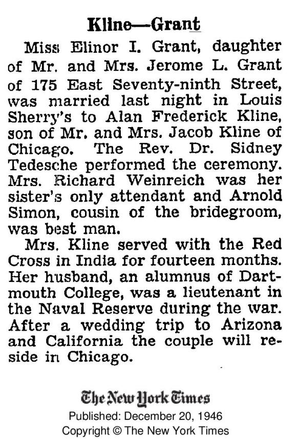 Elinor Grant wedding to Alan Kline 1946 NYTimes-page-001