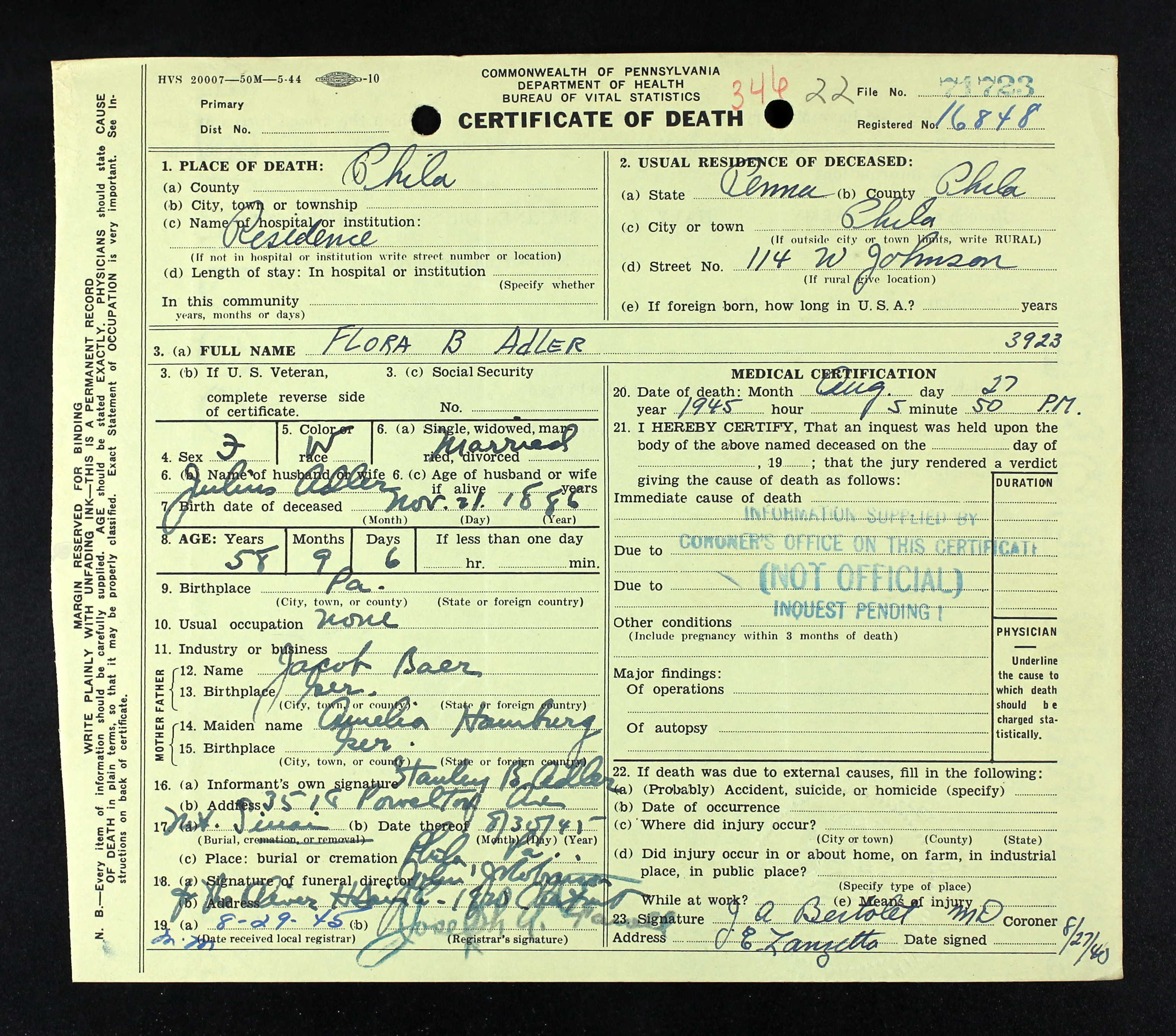 University of pennsylvania brotmanblog a family journey flora baer death certificate preliminary aiddatafo Images