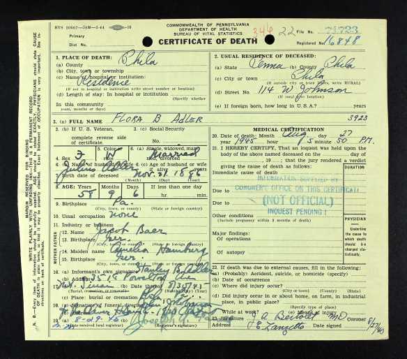 FLora Baer death certificate preliminary