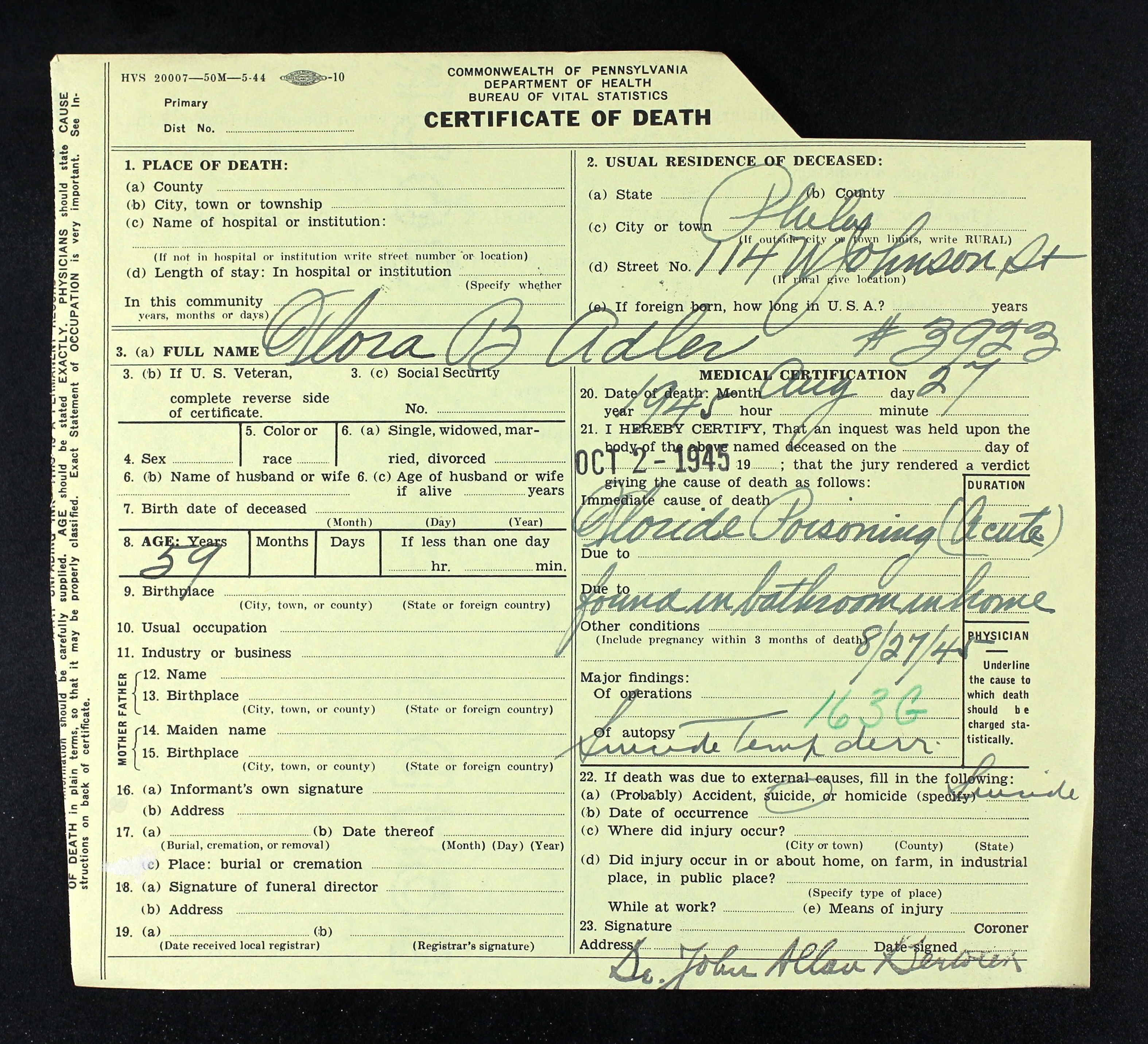 Harrisburg brotmanblog a family journey flora baer death certificate with coroner result xflitez Gallery