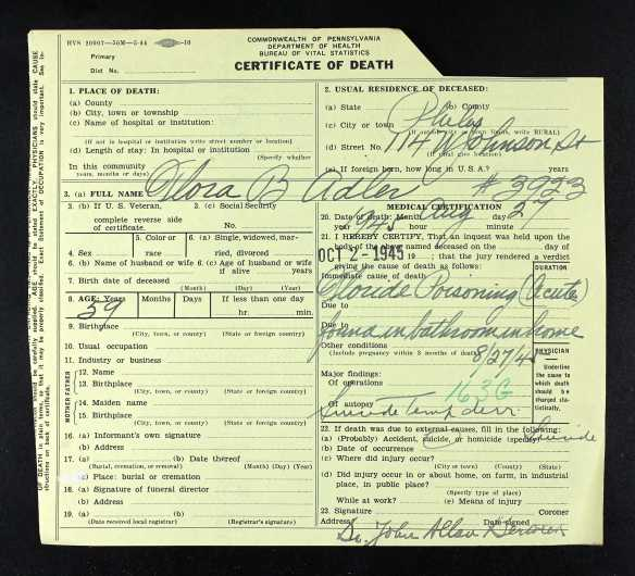 FLora Baer death certificate with coroner result
