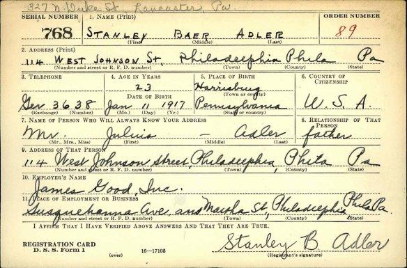 Stanley Baer Adler Fold3_Page_1_Selective_Service_Registration_Cards_World_War_II_Multiple_Registrations