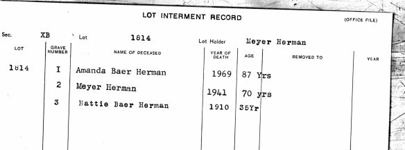 Meyer Herman and Hattie and Amanda burial