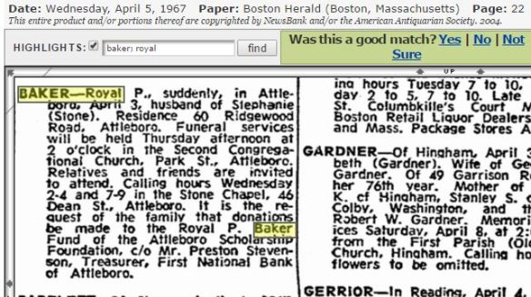 Royal P Baker death notice April 1967
