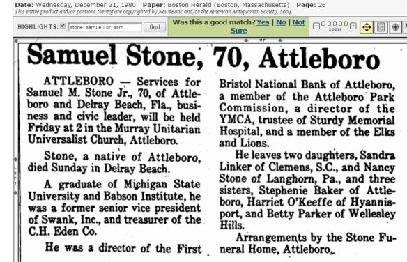 Samuel Stone Jr obit 12 31 1980