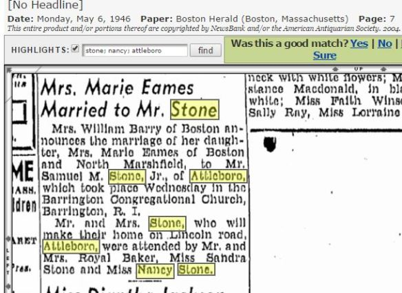 Samuel Stone Jr wedding to Marie Eames