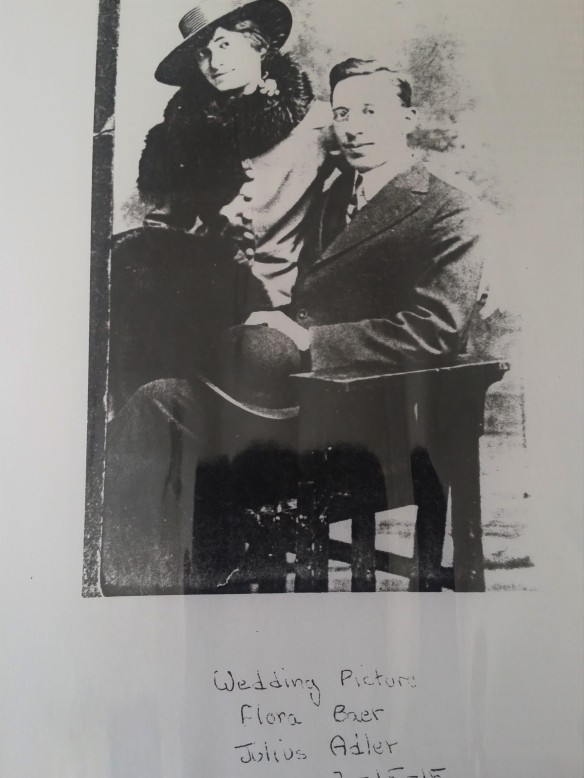 Wedding photograph of Flora Baer and Julius Adler, March 15, 1915 Courtesy of the Adler family