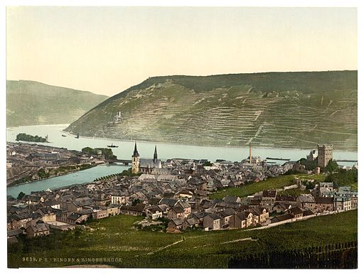 Bingen, Germany, c. 1890 https://commons.wikimedia.org/wiki/File%3ABingen_and_the_bridge%2C_the_Rhine%2C_Germany-LCCN2002714061.jpg