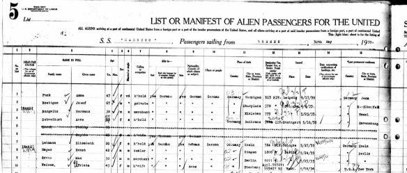Ernst Mayer passenger manifest 1935