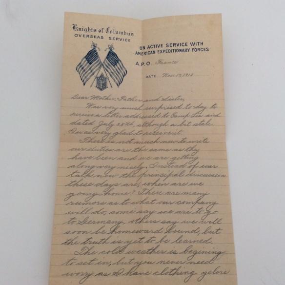 Frank November 13 1918 letter 1