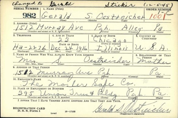 Gerald Oestreicher draft registration for World Wa II