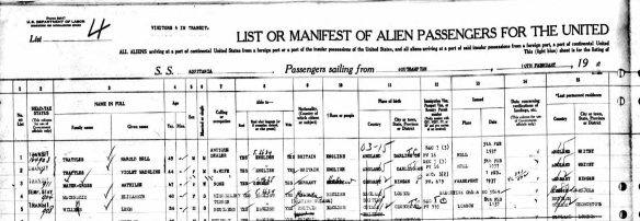 Mathilde Mayer-Gross on passenger manifest February 1937