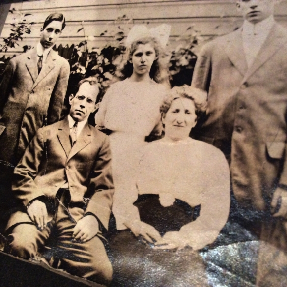 Rear: Frank, Helen, Gerald (with head cut off) Front: Gustav and Sarah Oestreicher