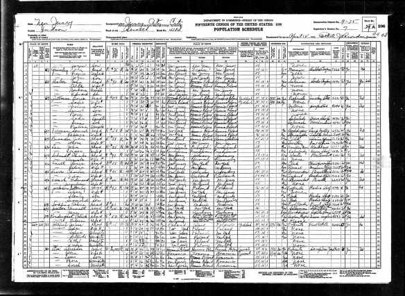 Julius Goldfarb and family 1930 US census, lines 40-45 Year: 1930; Census Place: Jersey City, Hudson, New Jersey; Roll: 1352; Page: 29A; Enumeration District: 0075; Image: 209.0; FHL microfilm: 2341087