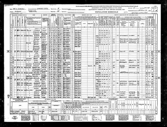 Julius Goldfarb and family 1940 census lines 13-17 Year: 1940; Census Place: Jersey City, Hudson, New Jersey; Roll: T627_2406; Page: 7A; Enumeration District: 24-197