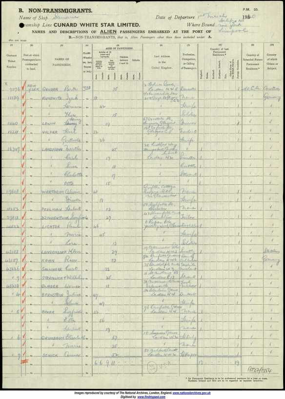 Paul, Marie, and Lore Lichter on the 1940 UK ship manifest Ancestry.com. UK, Outward Passenger Lists, 1890-1960 [database on-line]. Provo, UT, USA: Ancestry.com Operations, Inc., 2012. Original data: Board of Trade: Commercial and Statistical Department and successors: Outwards Passenger Lists. BT27. Records of the Commercial, Companies, Labour, Railways and Statistics Departments. Records of the Board of Trade and of successor and related bodies. The National Archives, Kew, Richmond, Surrey, England.