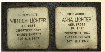 Stolpersteine for Wilhelm Lichter and Anna Gross Lichter http://www.stolpersteine-stuttgart.de/index.php?docid=749