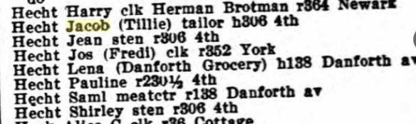 Hechts in 1925 Jersey City directory Title : Jersey City, New Jersey, City Directory, 1925 Source Information Ancestry.com. U.S. City Directories, 1822-1995 [database on-line]. Provo, UT, USA: Ancestry.com Operations, Inc., 2011.