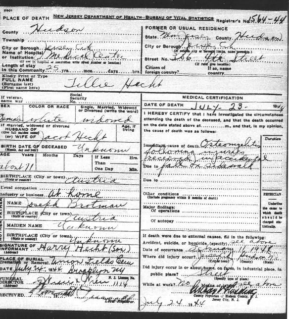 tillie-hecht-death-certificate