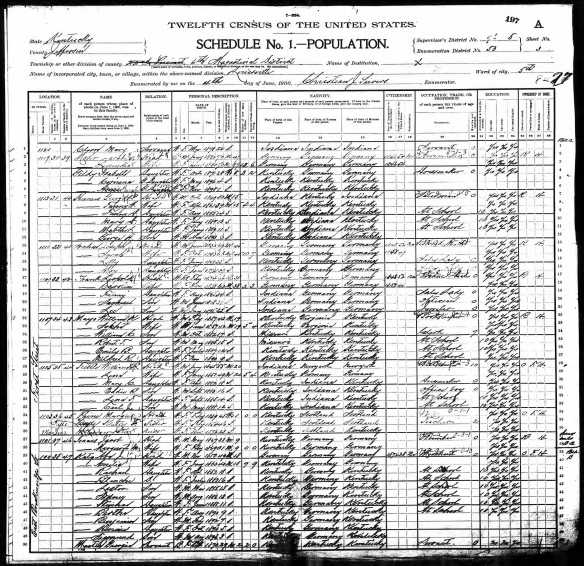Abraham J Katz and family 1900 US census Year: 1900; Census Place: Louisville Ward 5, Jefferson, Kentucky; Roll: 530; Page: 3A; Enumeration District: 0053; FHL microfilm: 1240530