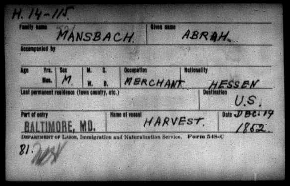 abraham-mansbach-1852-immigration-card
