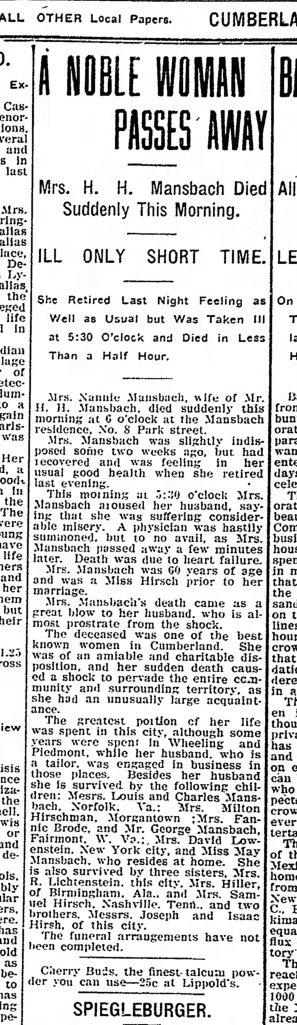 Cumberland Evening Times, October 11, 1907, p. 1