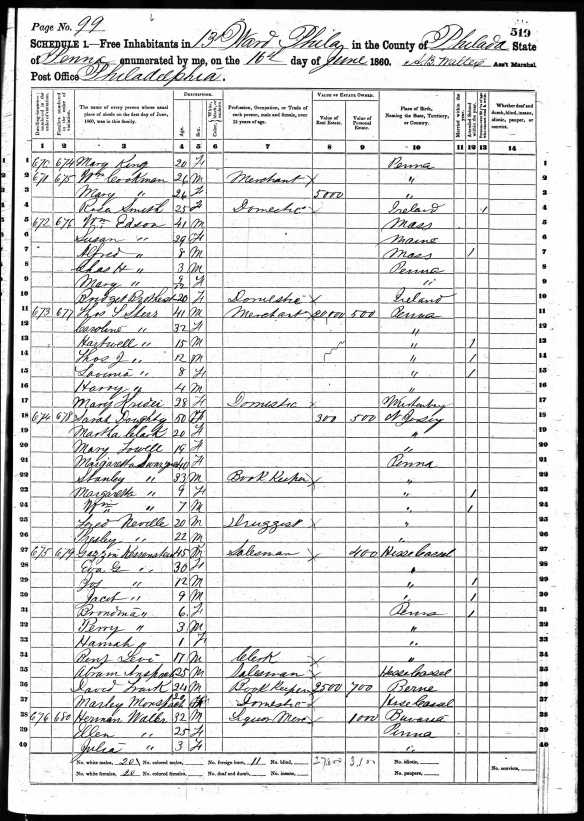 Gerson Katzenstein and family 1860 US census Year: 1860; Census Place: Philadelphia Ward 13, Philadelphia, Pennsylvania; Roll: M653_1163; Page: 519; Image: 105; Family History Library Film: 805163