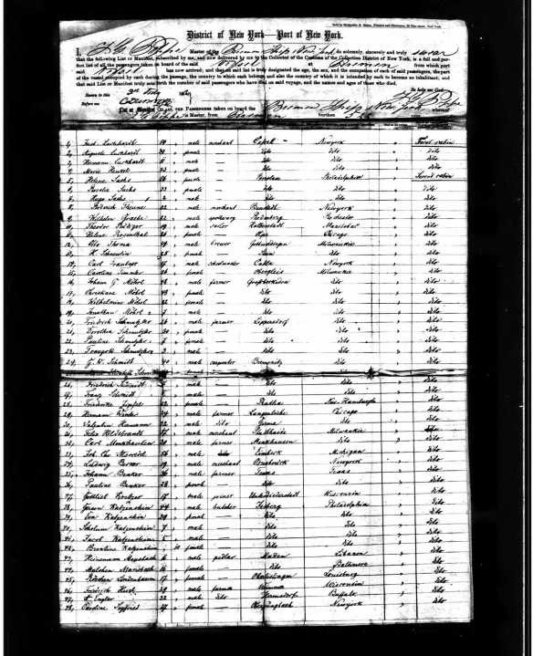 Gerson Katzenstein and family on 1856 ship manifest Year: 1856; Arrival: New York, New York; Microfilm Serial: M237, 1820-1897; Microfilm Roll: Roll 164; Line: 1; List Number: 589