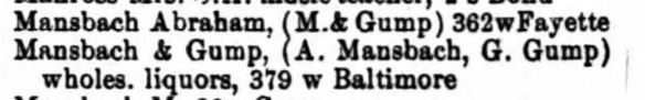 Title : Baltimore, Maryland, City Directory, 1880 Source Information Ancestry.com. U.S. City Directories, 1822-1995 [database on-line]. Provo, UT, USA: Ancestry.com Operations, Inc., 2011.