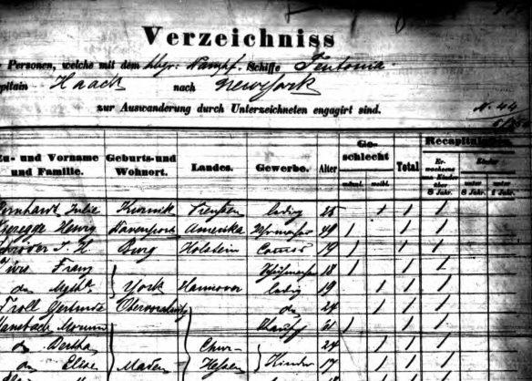 Marum Mansbach on passenger manifest 1864 Staatsarchiv Hamburg; Hamburg, Deutschland; Hamburger Passagierlisten; Microfilm No.: K_1710