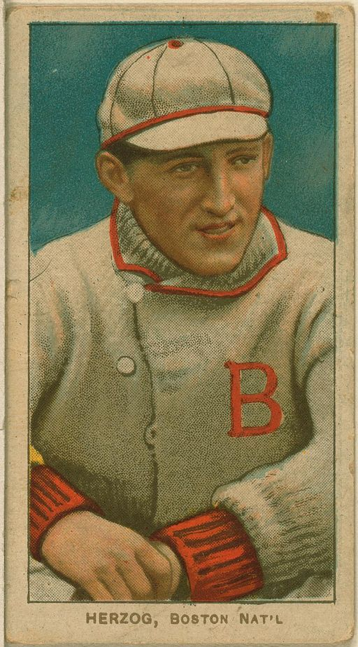 Buck Herzog baseball card for the Boston Braves By Issued by: American Tobacco Company [Public domain], via Wikimedia Commons