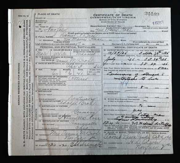 Daniel Broh death certificate Ancestry.com. Virginia, Death Records, 1912-2014 [database on-line]. Provo, UT, USA: Ancestry.com Operations, Inc., 2015. Original data: Virginia, Deaths, 1912–2014. Virginia Department of Health, Richmond, Virginia.
