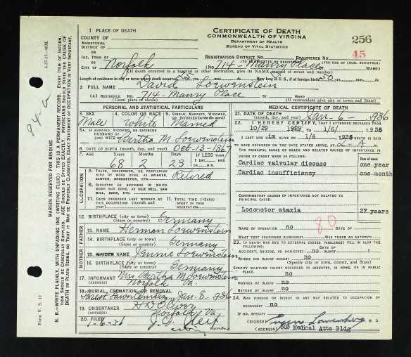 David Loewenstein death certificate Ancestry.com. Virginia, Death Records, 1912-2014 [database on-line]. Provo, UT, USA: Ancestry.com Operations, Inc., 2015. Original data: Virginia, Deaths, 1912–2014. Virginia Department of Health, Richmond, Virginia.