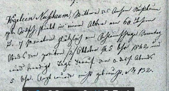 Death record of Voegelein Nussbaum