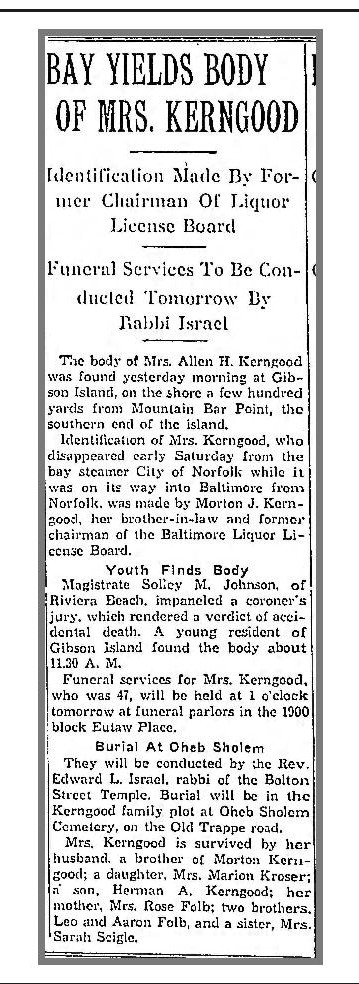 Baltimore Sun, June 28, 1937, p. 18
