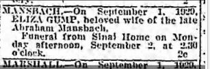 Eliza Gump Mansbach death notice Baltimore Sun, September 2, 1929 p. 14